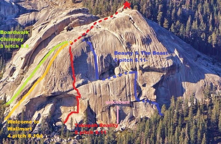 Lower Tokopah Dome with some of the routes
