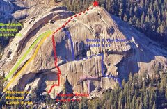 Rock Climbing Photo: Lower Tokopah Dome with some of the routes