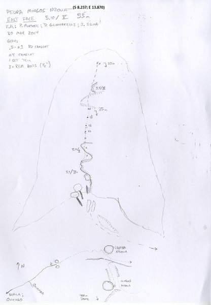 Rock Climbing Photo: Hand-drawn topo.  Also shows rough trail map.