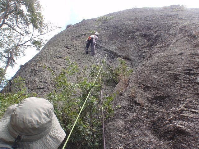 Patrick climbing the zig-zag flake on the first ascent.