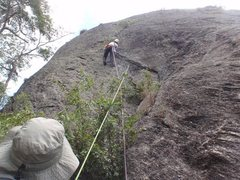 Rock Climbing Photo: Patrick climbing the zig-zag flake on the first as...