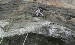 Rock Climbing Photo: top half of route (crux)