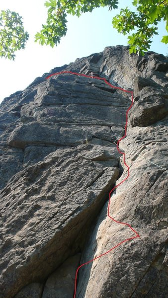 Rock Climbing Photo: The route I did up Saber. There's an easier way ac...