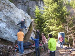 Rock Climbing Photo: Boulderers on boulder with Mine Wall in background...
