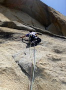 Rock Climbing Photo: Brian starting up pitch 1. Crux of the route is tu...