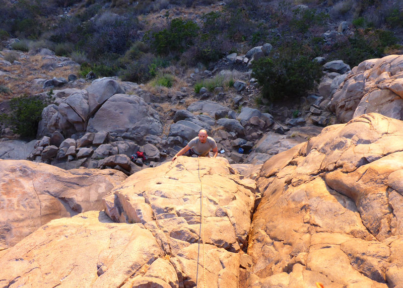 My friend Aldo nearing the top of Ramp Arete.