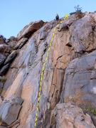 Rough route line for The Ramp Arete.