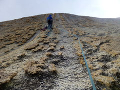 Rock Climbing Photo: Knobs in the end of pitch 4. Fifth pitch goes up t...