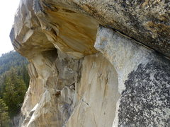 Rock Climbing Photo: The flake allows passage over the giant roof seen ...