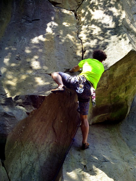 Rock Climbing Photo: Climbing the crux