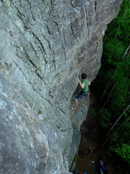 Rock Climbing Photo: Looking down at the middle of the route.  View fro...