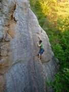 Rock Climbing Photo: Emmett in the upper section of the route just belo...
