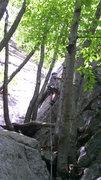 "Rock Climbing Photo: Bill Moser starting up the first pitch of ""Un..."