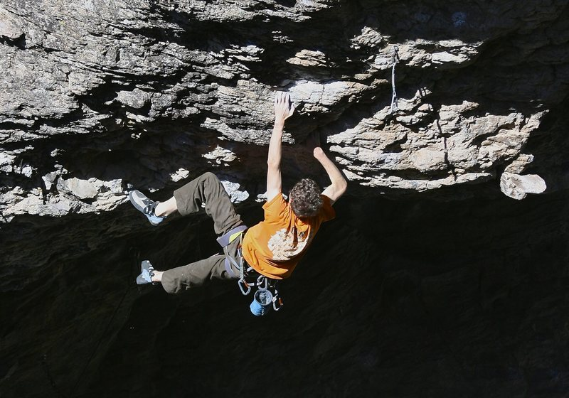 Rock Climbing Photo: Daniel Trugman pulling over the roof on Death Driv...