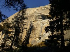 Rock Climbing Photo: Looking up at the route. The crux OW can be seen a...