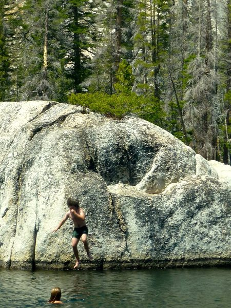 Jumping off of boulders in the Yosemite Backcountry