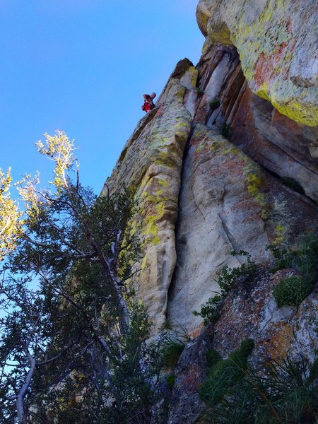 Fun climb, but don't blow the second clip.  Could be an ankle breaker.<br> <br> But I'm an 'Old Man'