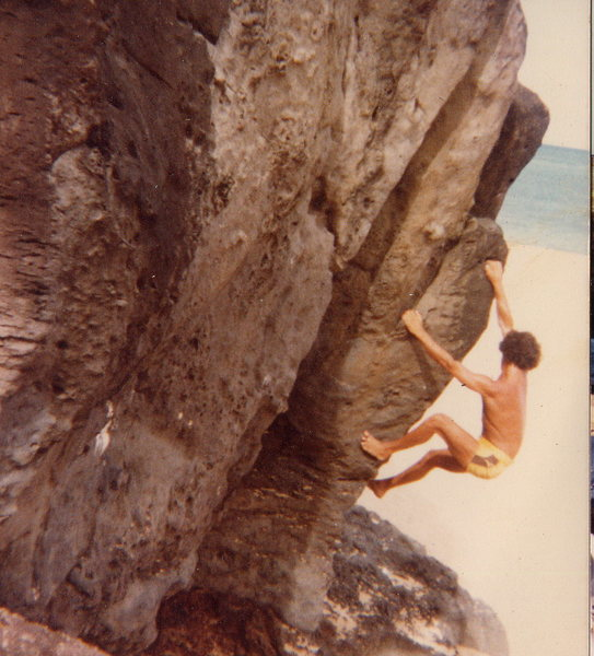 Bouldering at Waimea Bay on the north shore of Oahu, Hawaii September 1980<br> Climber: Olaf Mitchell<br> Photo from Olaf Mitchell collection
