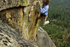 Rock Climbing Photo: Pulling the roof variation of the last pitch.  Fre...