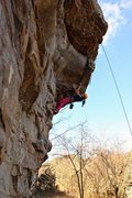 Rock Climbing Photo: Gabby getting to the crux