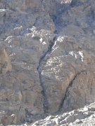 Rock Climbing Photo: The route runs up the crack system in the center o...
