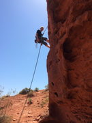 Rock Climbing Photo: Rapping off a TR anchor at Pioneer Park, St George