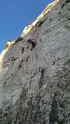 Rock Climbing Photo: Silvia about to make her last moves for the chains...