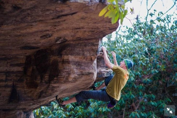 Ray Weber on another Coopers Rock classic V2 Moonchild photo courtesy of WVU climbing club