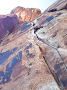 Rock Climbing Photo: Keenan on lead at the crux of Elephant Man.