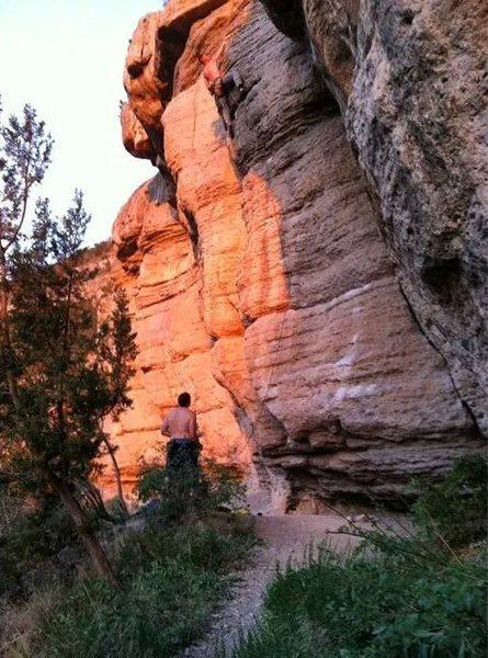 Rock Climbing Photo: Finishing the top. Pull through the pump.