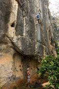 Rock Climbing Photo: Heading up Ranas Peluas 6c+