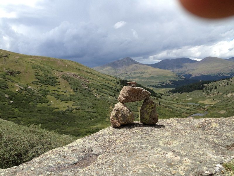 Trail cairn on mt bierstadt take just before the sawtooth traverse.