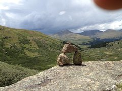 Rock Climbing Photo: Trail cairn on mt bierstadt take just before the s...
