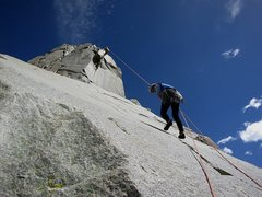 Rock Climbing Photo: That first airy rap.  25 May 2014.