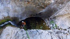 Rock Climbing Photo: Eaton Canyon, down the long Gully waterfall rap to...