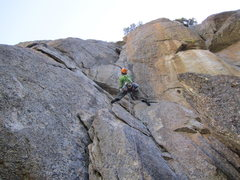 Rock Climbing Photo: buttshot on P2, awesome dihedral up the 5.9 variat...
