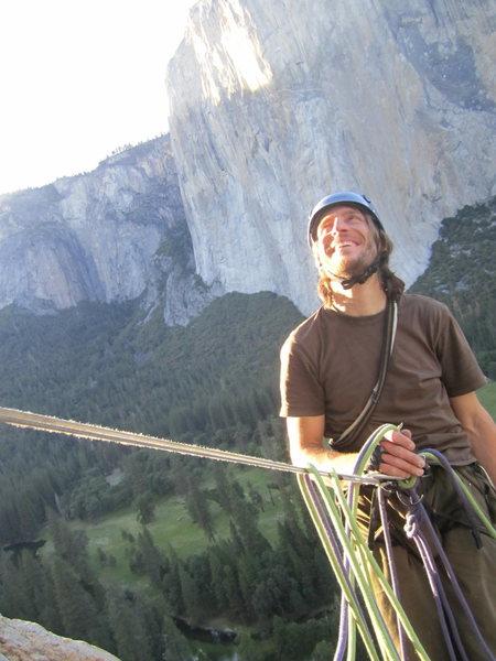 My partner Tobias on Central Pillar of Frenzy, Yosemite