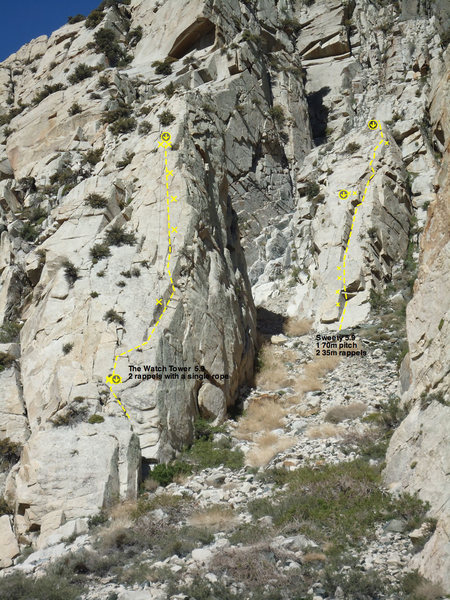 Watchtower 5.9, and Sweetie 5.9-, from the toe of the PSOM slab.