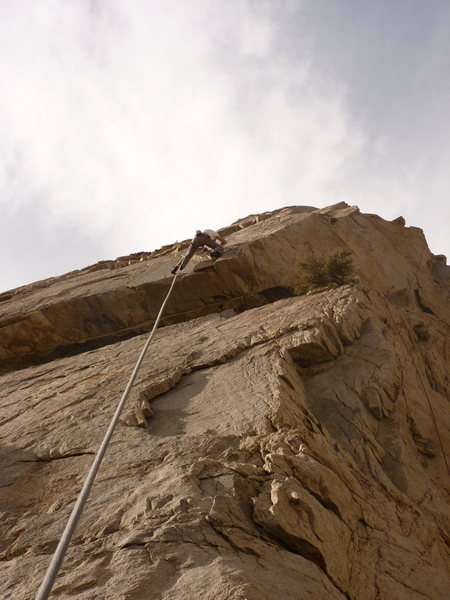 Rock Climbing Photo: Climber at crux of Needle.