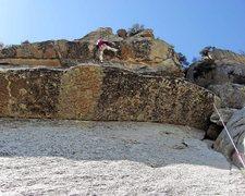 Rock Climbing Photo: Ed pulls pitch 6 roof. Fun!