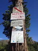Rock Climbing Photo: The Emeralds trailhead warning sign.