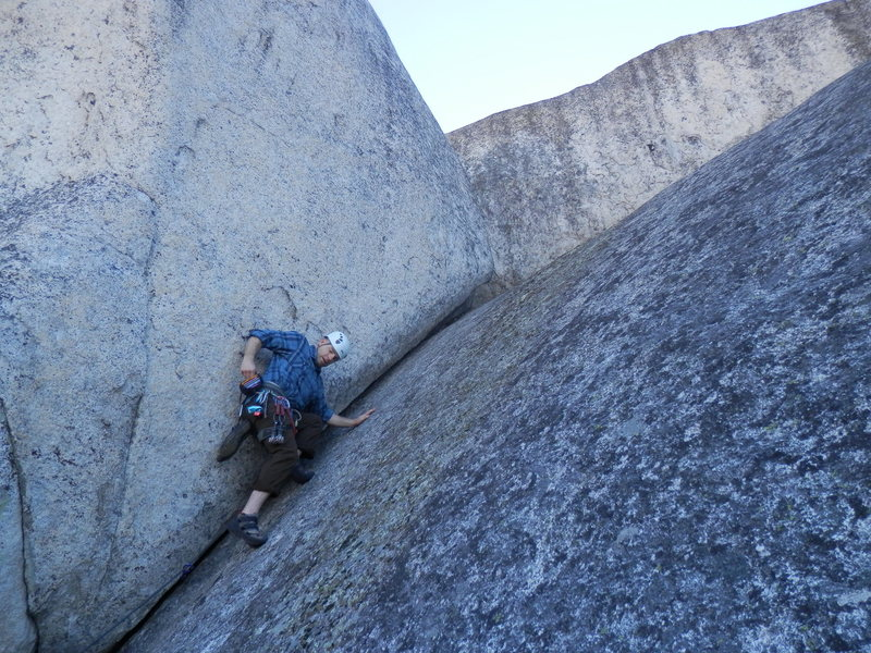 A nice moderate trad crack on one of the taller walls near the summit marker of Big Bald Rock.
