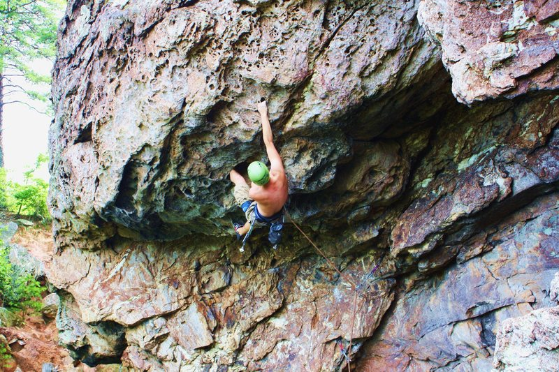 The Fortress<br> <br> Gumbies Go Home (5.10) trad<br> <br> Crowders Mountain State Park, North Carolina