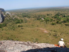Rock Climbing Photo: From the top of the first pitch.  Our car is on th...