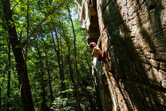 Rock Climbing Photo: Climber on Mr. Mogley about to throw chalk in the ...