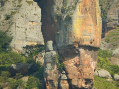 Rock Climbing Photo: Shot from the road of the start of the 2nd pitch. ...