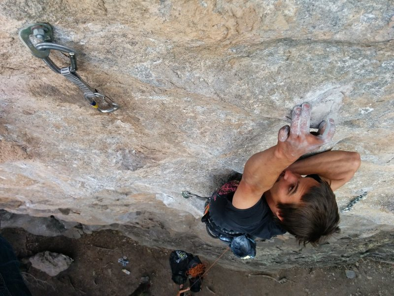 Rock Climbing Photo: Sam Briggs pulling the tricky mantle