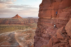 Rock Climbing Photo: Sunrise ascent, first pitch with north shooter in ...