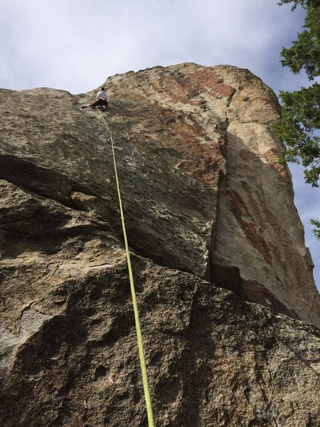 Face climbing on a beautiful slab.  All bolts, shaded belay.