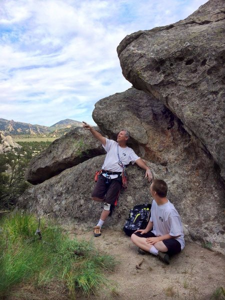 Counting bolts.<br> <br> Perfect little area for climbing and a picnic.  Shade, sand, grass, secluded.
